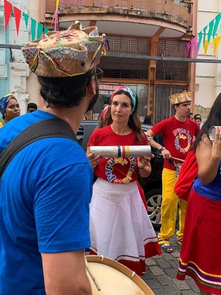 Fátima Bernardes e Túlio Gadêlha na bateria do Brincante Popular, em Recife - Reprodução/Instagram