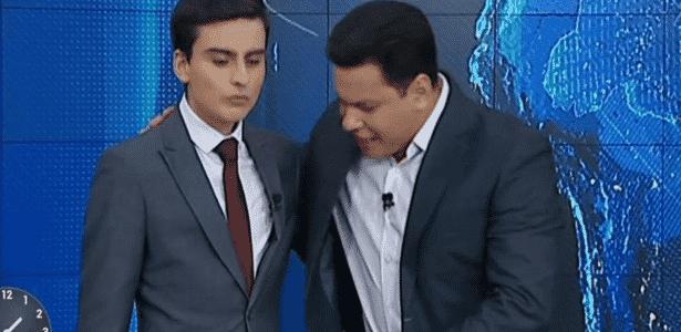 """Dudu Camargo e Marcão continuam a dividir o novo e mais longo """"Primeiro Impacto"""" - Reprodução/SBT"""