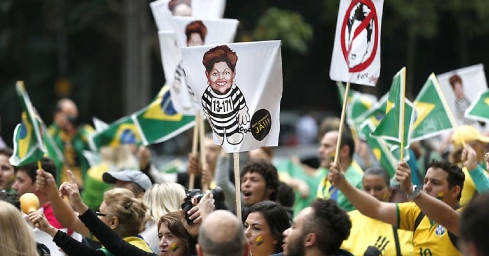 Manifestantes pedem impeachment de Dilma e prisão de Lula pelo nono dia seguido na avenida Paulista, em SP