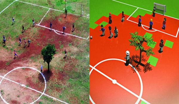 Havia uma árvore no meio do campinho. E ela foi transformada em Lego por Gustavo Bacan / Crédito:Gustavo Bacan