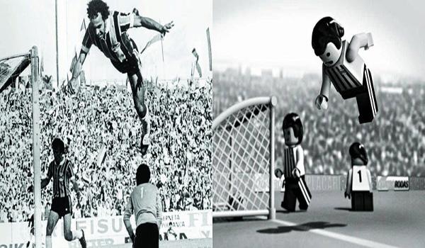 Salto do atacante André Catimba foi transformado em Lego por Gustavo Bacan. / Crédito: Gustavo Bacan