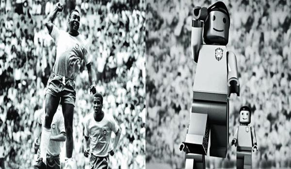 Gustavo Bacan transforma em Lego o soco no ar de Pelé durante a final da Copa de 1970 / Crédito: Gustavo Bacan