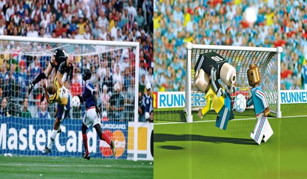 A poucas horas da final da Copa de 1998, Ronaldo havia passado mal. A trombada com o goleiro francês Barthez, clicada por Ricardo Corrêa, preocupou o mundo. Por sorte, não foi nada – embora o Brasil tenha sido massacrado pela França por 3 x 0/ Crédito: Ricardo Corrêa.