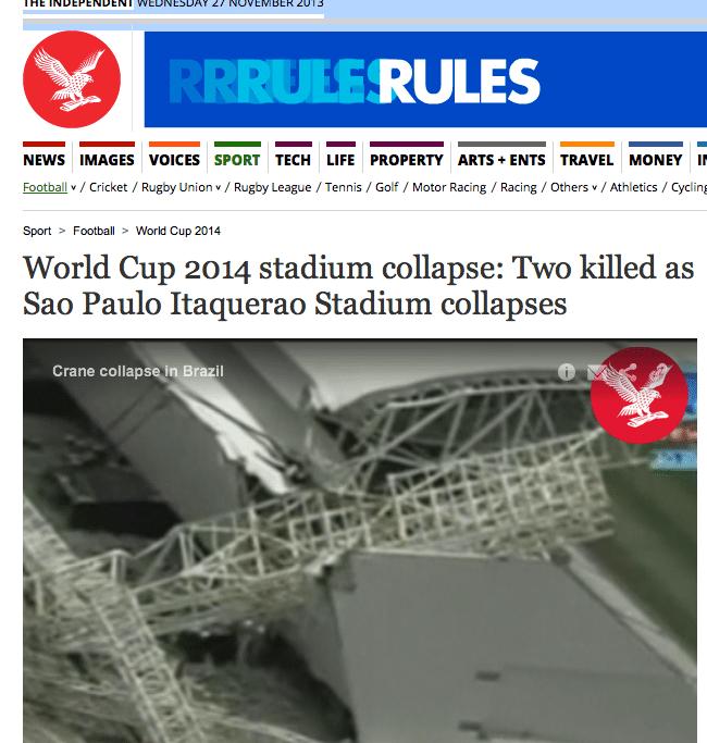 The Independent fall dos atrasos na construção dos estádios no Brasil