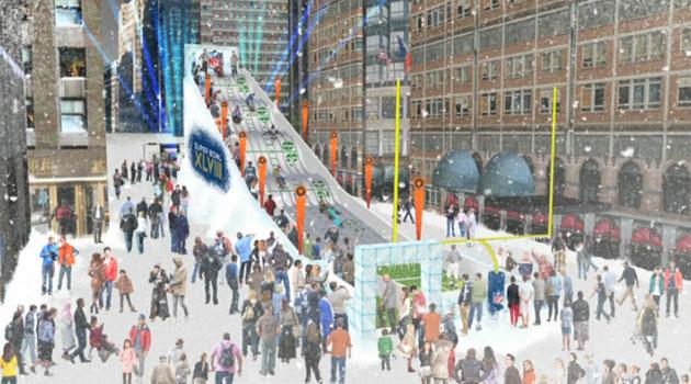 Tobogã temático de 18 metros de altura será montado na Times Square - Ilustração NFL.com