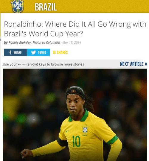 """""""Ronaldinho: Onde deu tudo errado no ano da Copa do Mundo"""" é o título do Bleacher Report - Reprodução"""