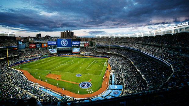 Gramado do Yankee Stadium adaptado para o futebol - Cortesia NYCFC