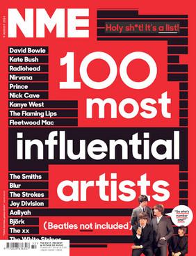 Capa da NME, com os 100 artistas mais influentes (Reprodução)