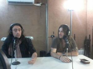 Alirio Netto e Edu Falaschi, durante a gravação do Combate Rock