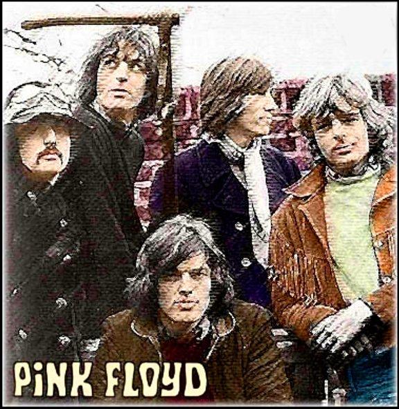 Rara foto, com tratamento artístico, do Pink Floyd como um quinteto, no começo de 1968: Barrett está no alto, e seu substituto, David Gilmour, está sentado (FOTO: DIVULGAÇÃO)