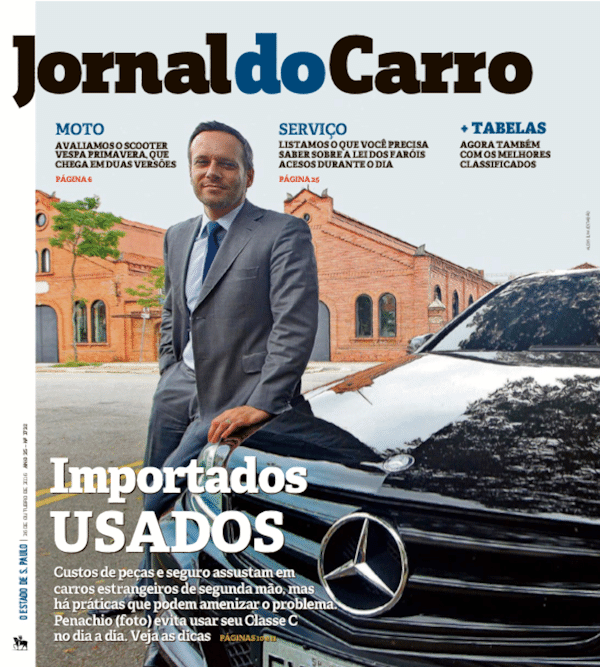 Capa do Jornal do Carro desta quarta (26), sobre importados de segunda mão