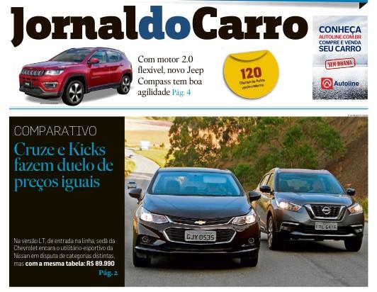 Capa do Jornal do Carro, do Estadão deste domingo (23)