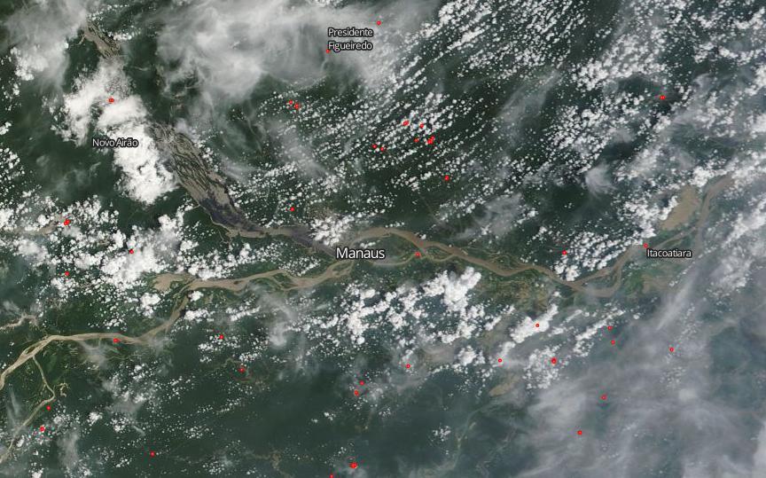 Focos de incêndio (em vermelho) encobriram a cidade de Manaus de fumaça nesta sexta-feira, 21. Foto: Landsat/Nasa