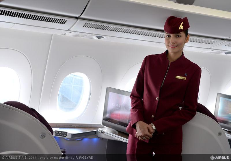 Executiva do A350 XWB da Qatar Airways com monitor HD de 17 polegadas. /Divulgação