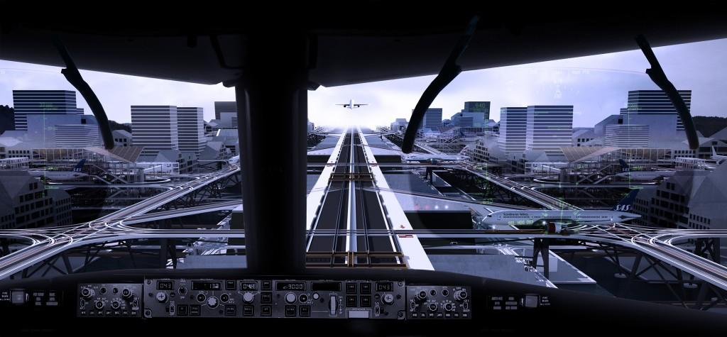 Simulação de um pouso na pista elevada, a partir da visão do cockpit