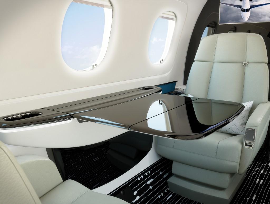 Interior do jato executivo Legacy 450 da Embraer (Foto: Divulgação)