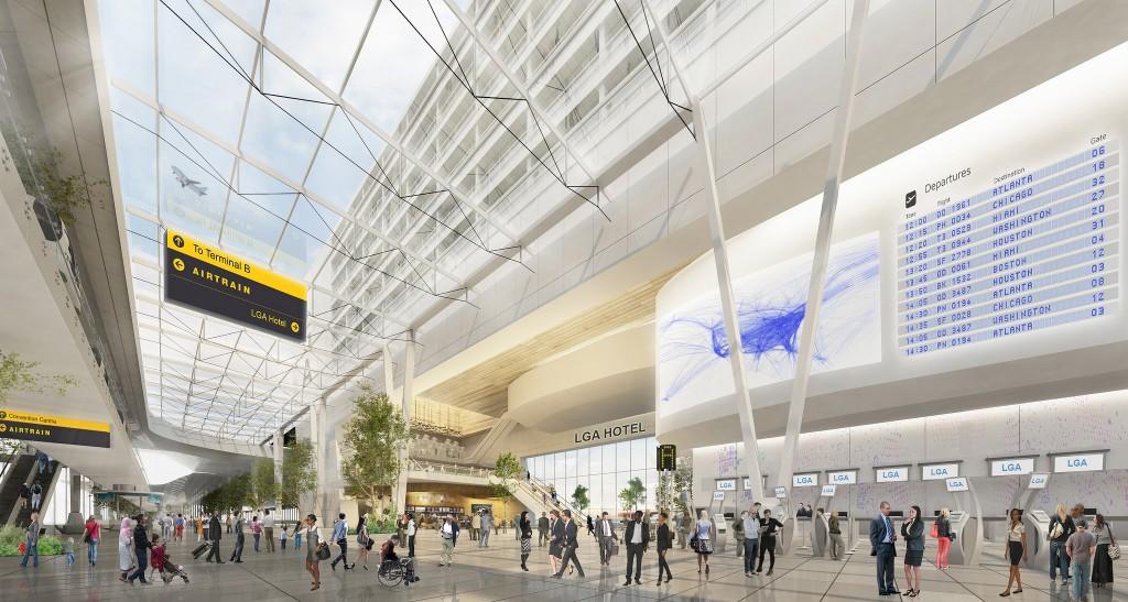 Desenho da área interna do aeroporto LaGuardia depois da reforma (Divulgação/Governo de NY)
