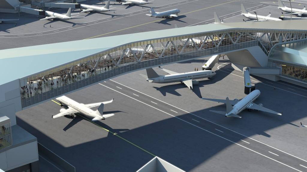 Passarelas devem ser construídas para facilitar acesso a portões de embarque e liberar espaço para circulação de aviões no LaGuardia (Divulgação/Governo de NY)