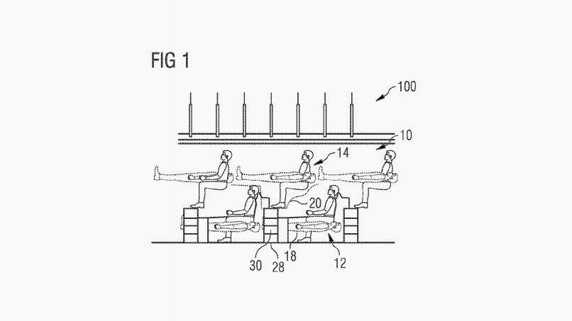 Pedido de patente da Airbus para novos assentos (Escritório de Patentes e Marcas dos EUA)