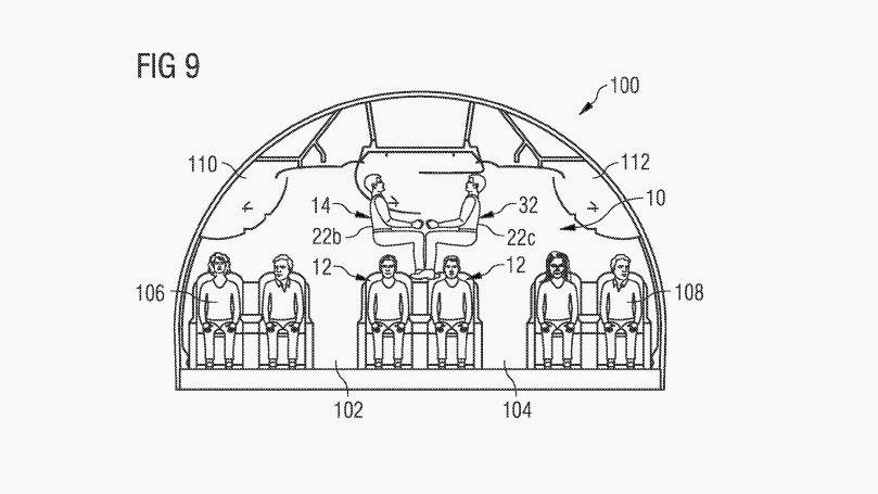 Desenho em pedido de patente da Airbus para nova configuração de assentos (Escritório de Patentes e Marcas dos EUA)