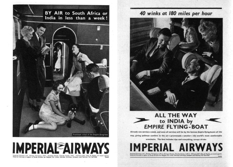 Propaganda da britânica Imperial Airways. Créditos: Reprodução/Paleofuture