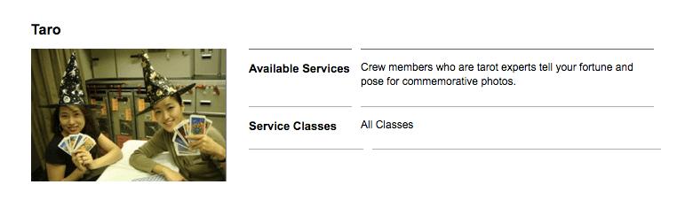 Serviço de tarô está disponível em voos específicos e para todas as classes. Imagem: Reprodução/Asiana