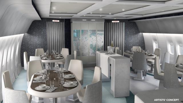 Desenho de como deve ficar a área de jantar do avião de luxo (Foto: Cortesia da Crystal Cruises)