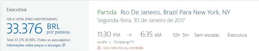 Tela mostra valor de passagem ida e volta do Rio de Janeiro a Nova York pela American Airlines. Foto: reprodução