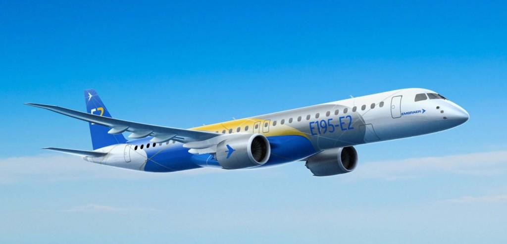 Desenho mostra como deve ser o Embraer E195-E2 (Imagem: Divulgação)