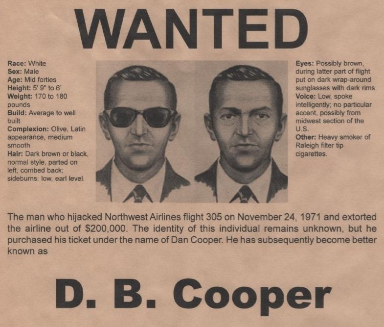- 03 DB Cooper WantedPoster EK 1 - Veja o que as tragédias aéreas ensinaram para aumentar segurança dos aviões
