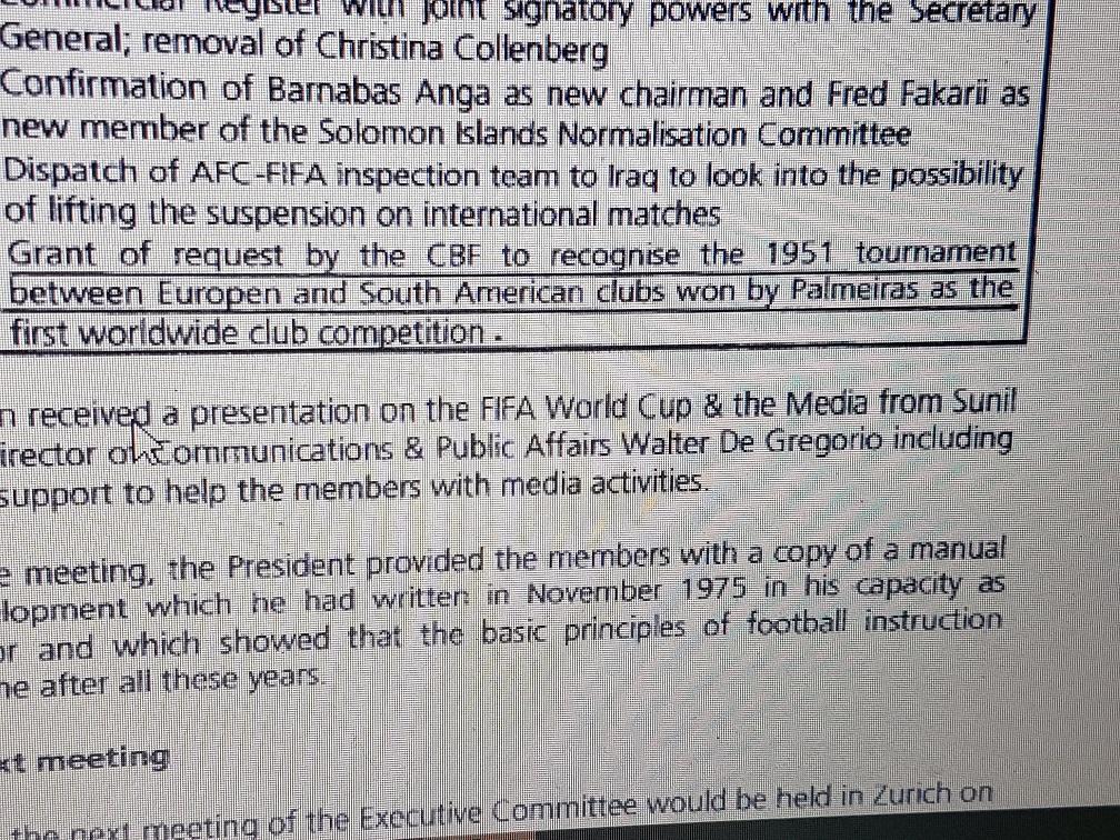 c4d870408d Fifa documentou a ministro que Palmeiras ganhou Copa do Mundo de ...