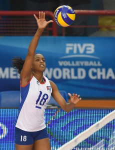 BARI, ITALY - SEPTEMBER 28: Sulian Matienzo of Cuba in action during the FIVB Women's World Championship pool D match between Azerbaijan and Cuba on September 28, 2014 in Bari,Italy. (Photo by Giuseppe Bellini/Getty Images for FIVB)
