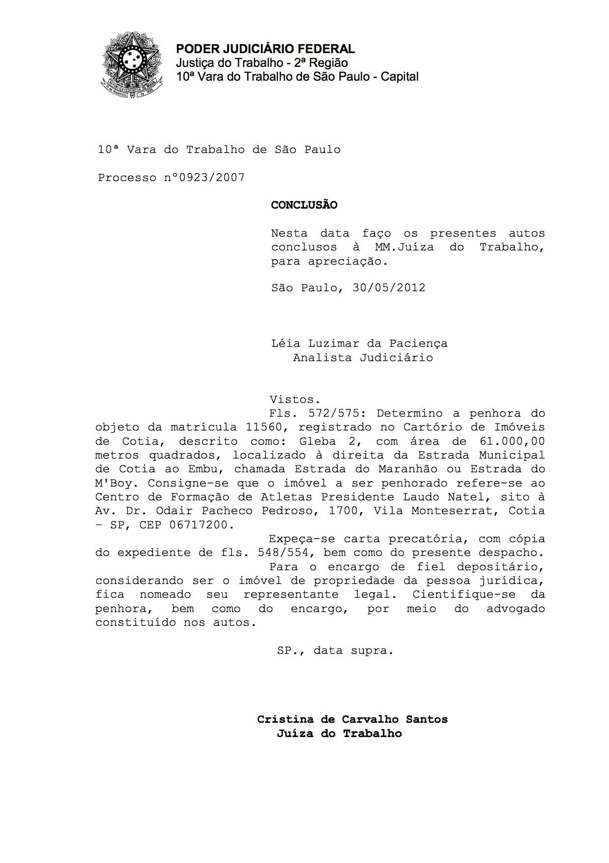 Decisão da penhora em 2012