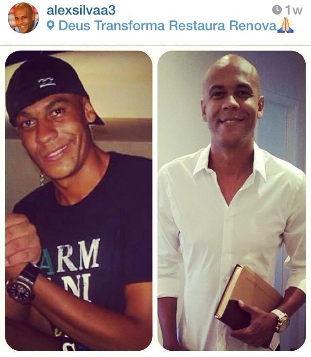 Foto de Alex antes e depois de mudar de vida