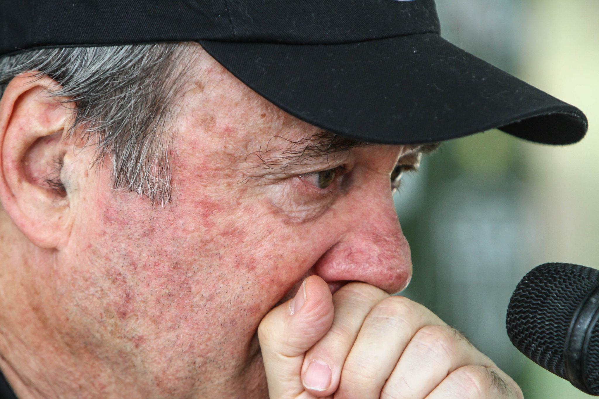 O técnico Levir Culpi ao anunciar que estava saindo do Atlético-MG (Crédito: Bruno Cantini/Atlético MG)