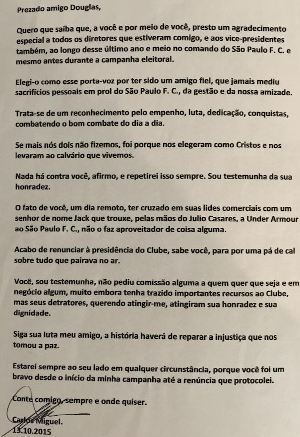 Reprodução da carta de Carlos Miguel Aidar a Douglas Schwartzmann