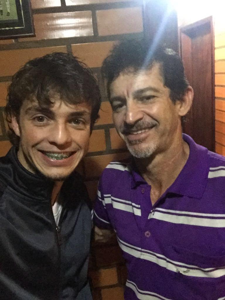 Selfie que Hyoran tirou com o pai REnato para o Blog do Boleiro
