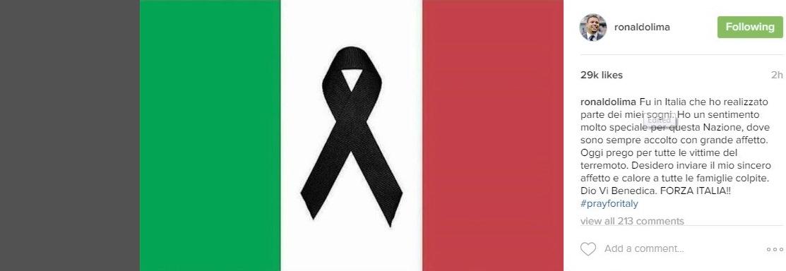 Reprodução da mensagem de Ronaldo em solidariedade às vítimas de terremoto na Itália