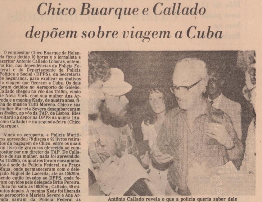 Registro da segunda detenção de Callado no jornal O Globo.