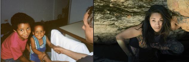 Christina criança (de vermelho) e, já adulta, visitando uma caverna.