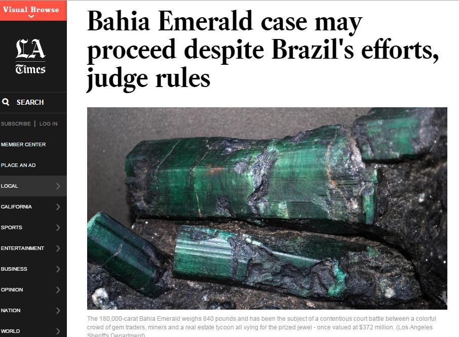 Disputa dipomática por esmeralda achada no Brasil, em destaque no jornal 'L.A. Times'