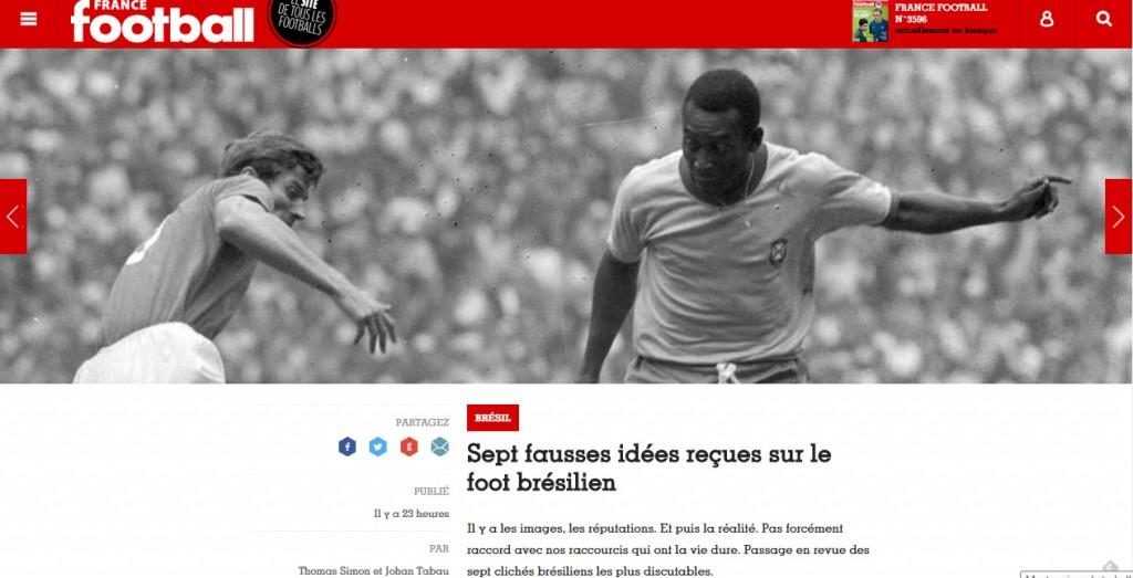 Página da revista francesa sobre os mitos a respeito do futebol brasileiro