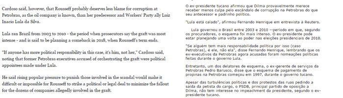 Duas versões da entrevista da Reuters com FHC. À esquerda em inglês, sem menção à corrupção em 1997, e à direita em português, com o parágrafo que gerou polêmica.