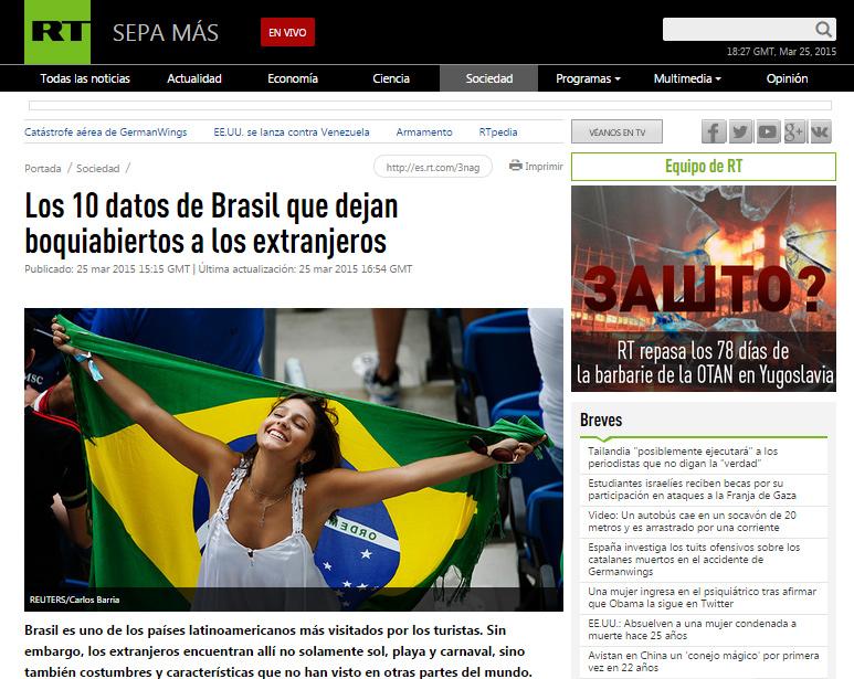 Página em espanhol da rede russa RT, falando sobre surpresas no Brasil