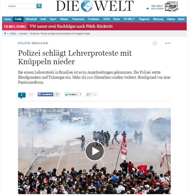 """Reportagem sobre confronto entre policiais e professores no Paraná no jornal alemão """"Die Welt"""""""