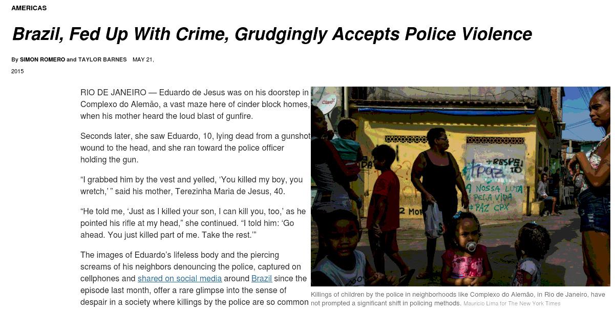 """Reportagem do """"New York Times"""" sobre violência policial no Brasil"""