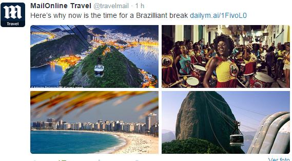 Chamada do 'Daily Mail' para reportagem sobre turismo no Brasil