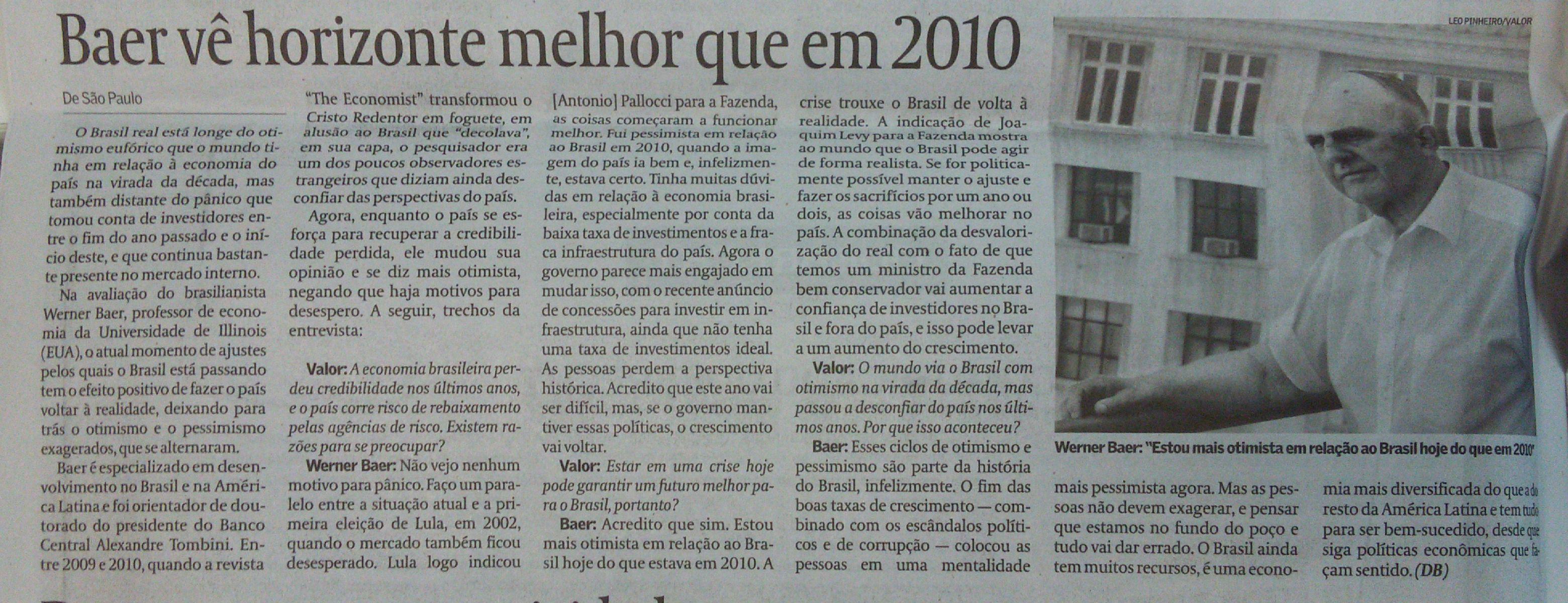 Entrevista do brasilianista Werner Baer ao 'Valor Econômico'