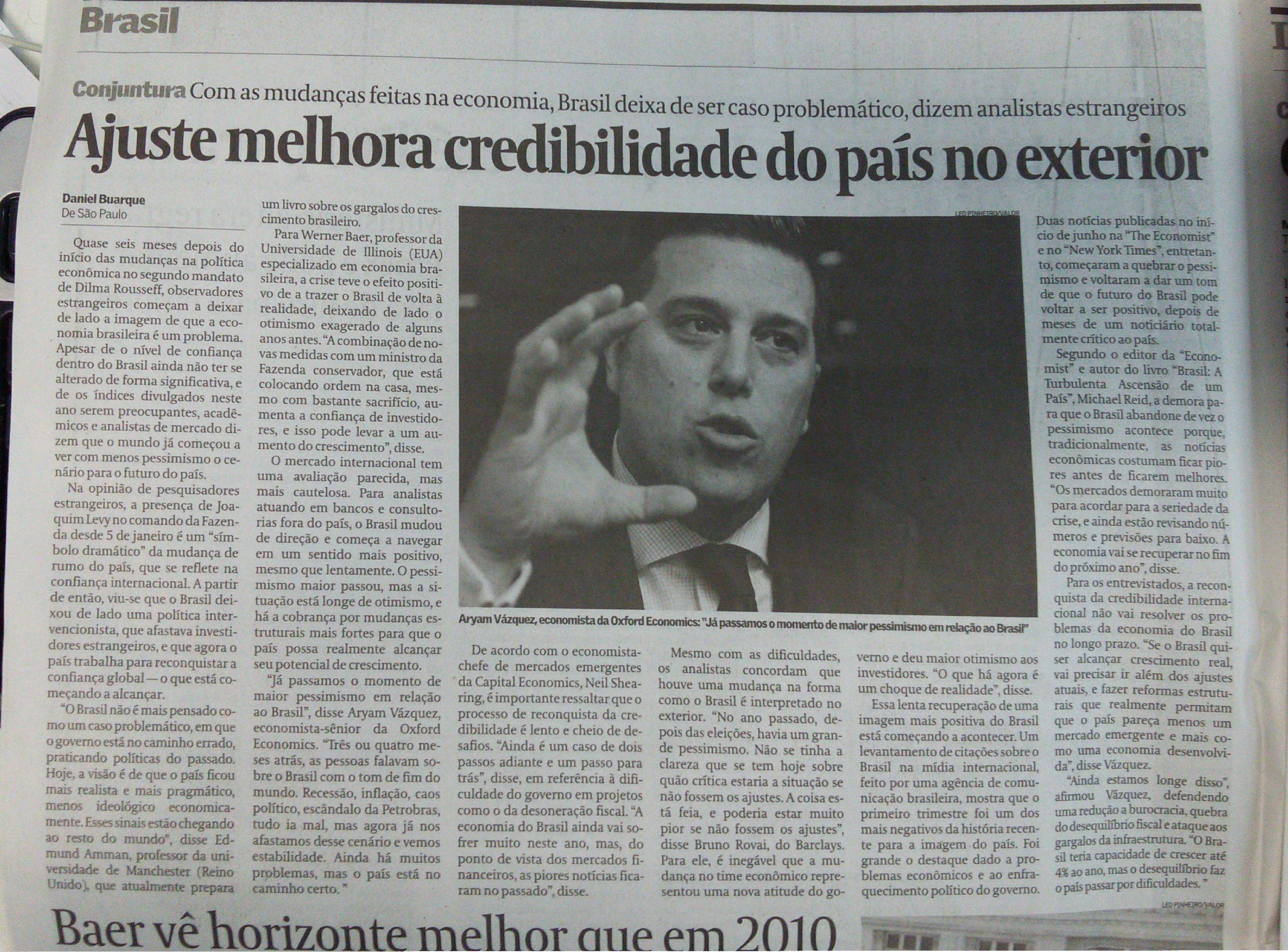 Reportagem do 'Valor Econômico' fala em melhora na credibilidade internacional do Brasil