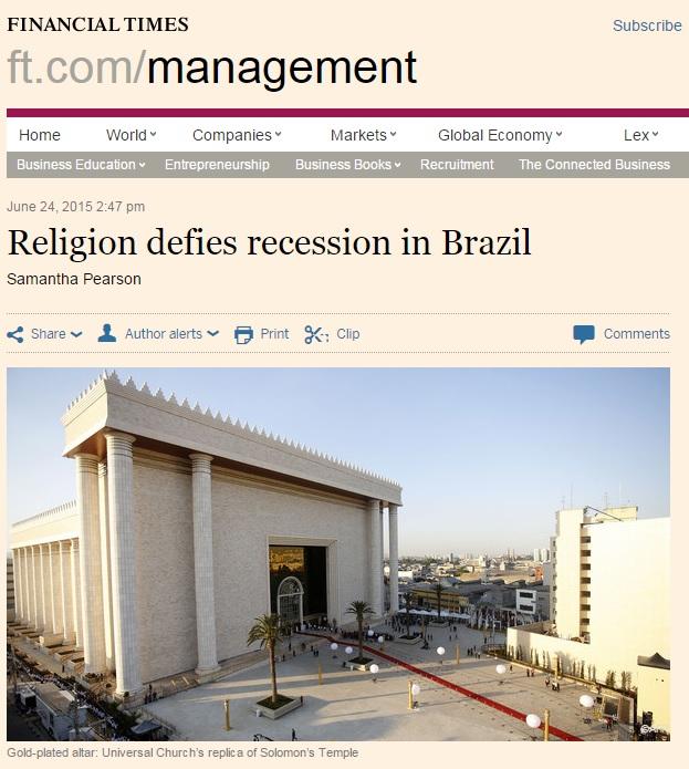 Reportagem do 'Financial Times' sobre religião e economia no Brasil